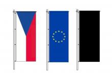 Sada stožárových vlajek ČR, EU a smuteční
