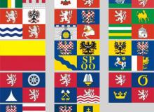 Komplet samolepek vlaječek krajů ČR