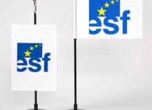 Stolní vlaječka ESF saténová tištěná