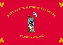 Tištěná hasičská vlajka se svatým Floriánem